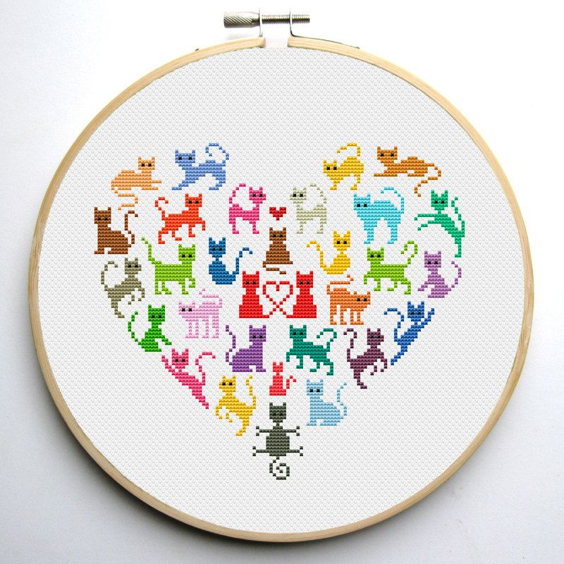 Floral cat cross stitch pattern set of patterns