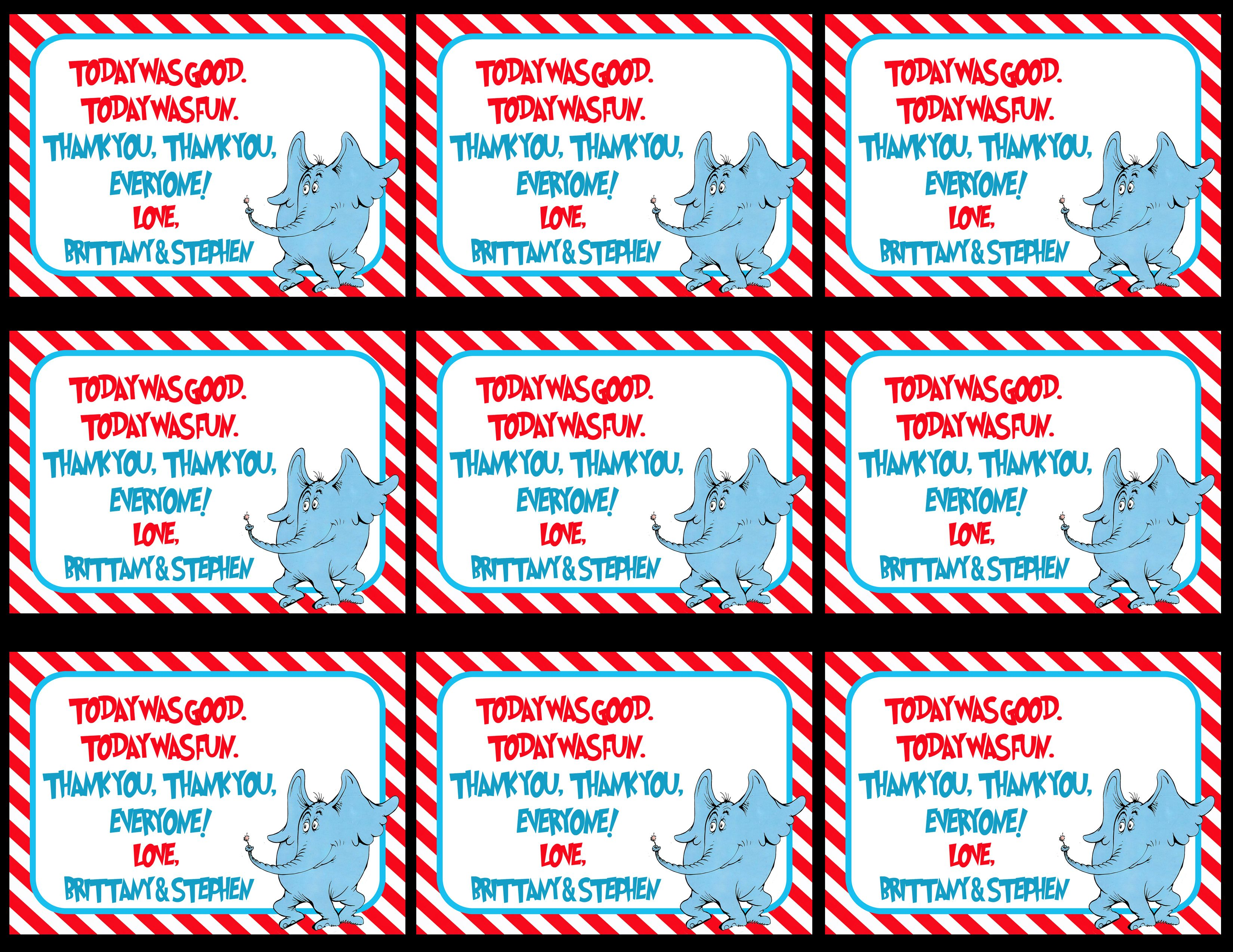 Dr  Seuss Thank You Tags, Dr  Seuss Gift Tags, Thank You