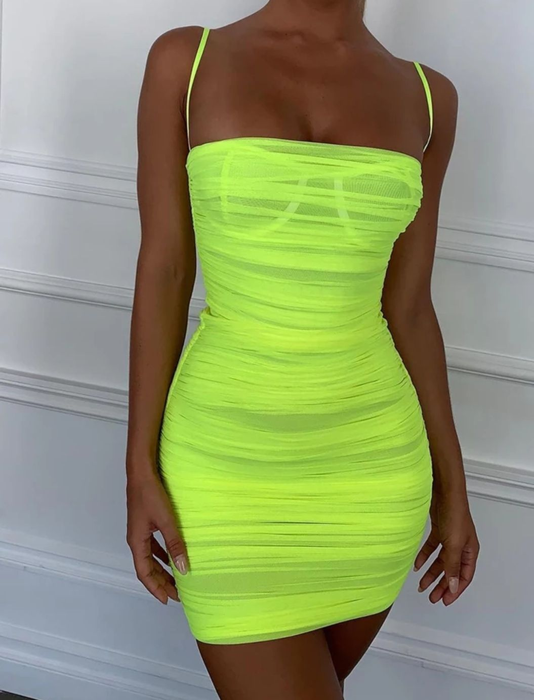 Mesh Lime Bodycon Dress Women Bodycon Dress Neon Green Dresses Neon Dresses