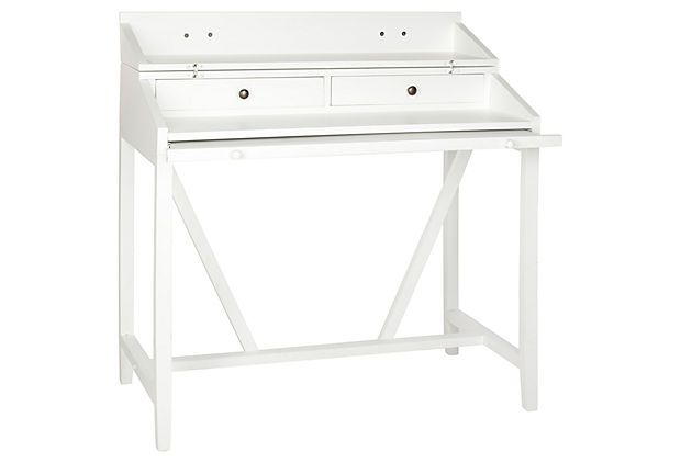Morton Writing Desk w/ Pull Out, White on OneKingsLane