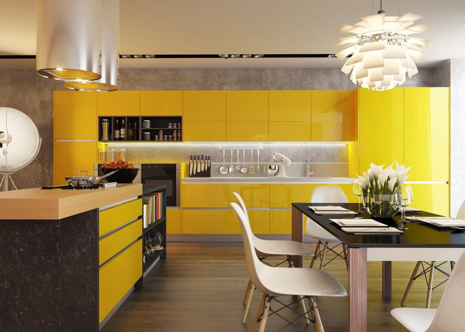 Yellow Kitchen Decor Bright Yellow Kitchen Cabinets  Google Search  House Ideas