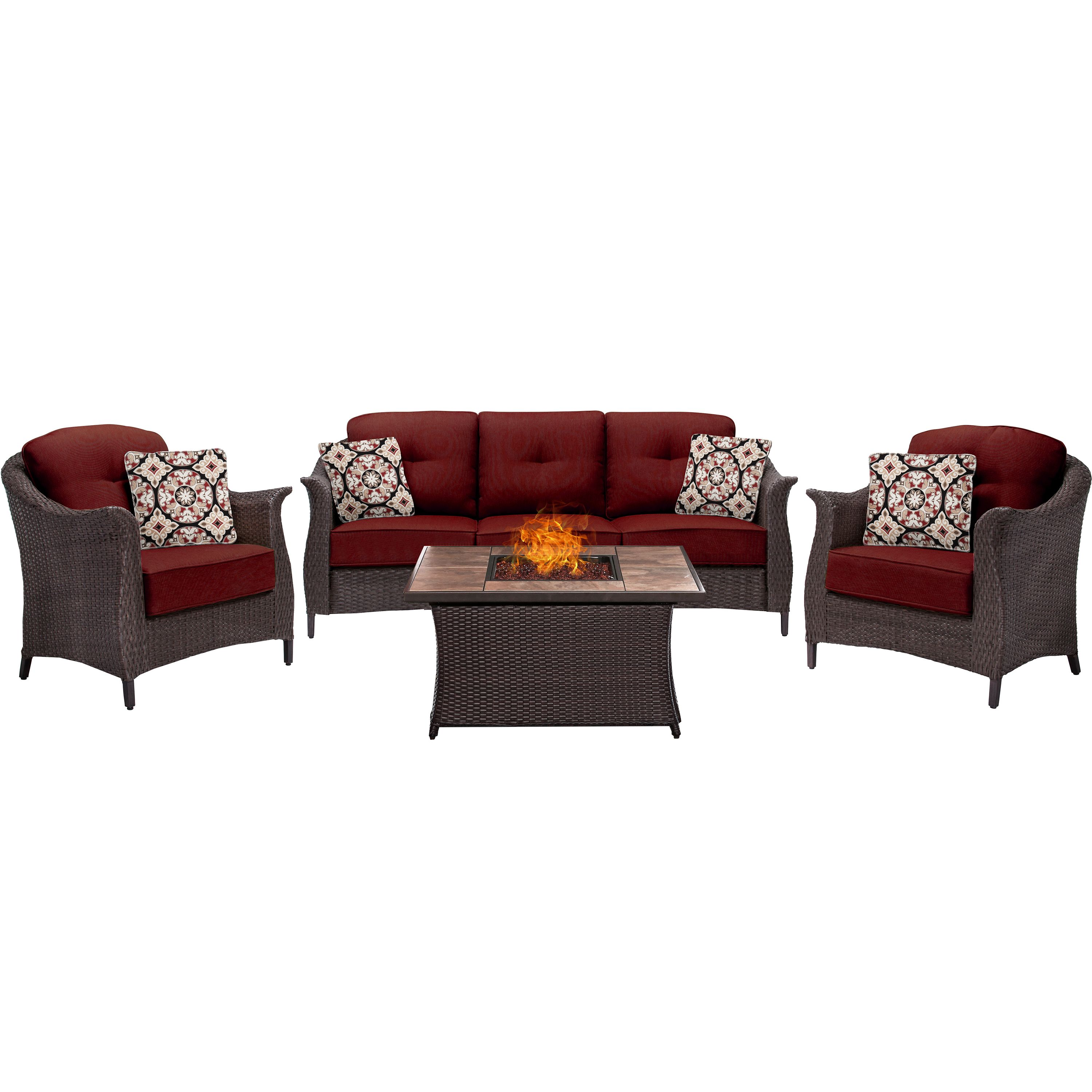 gramercy 4 piece woven fire pit set with tan porcelain tile top in