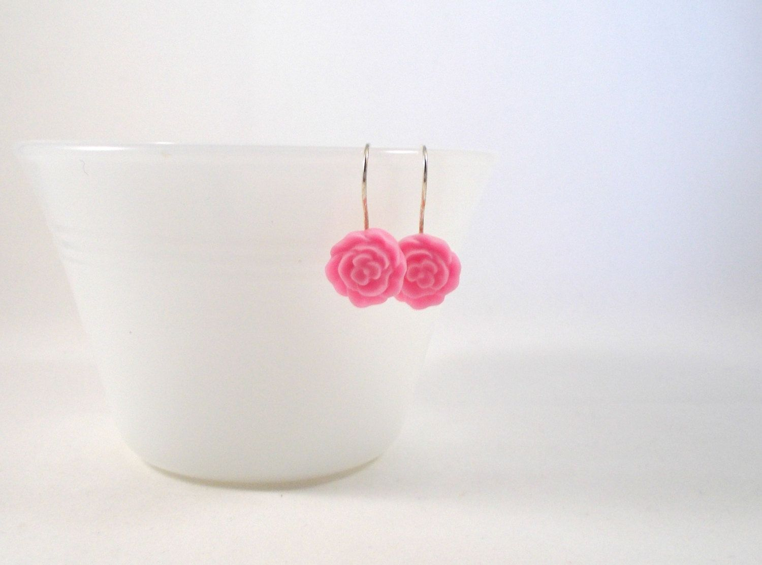 Pink Flower Earrings For S Women Tween Cute Spring Bright Simple