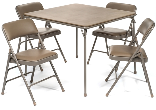 5pc Xl Series Folding Card Table And Vinyl Padded Chair Set Beige In 2020 Table And Chair Sets Best Folding Chairs Chair Pads