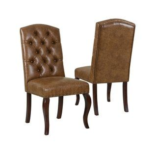 Terrific Homepop Tufted Back Dining Chair Light Brown Faux Leather Beatyapartments Chair Design Images Beatyapartmentscom