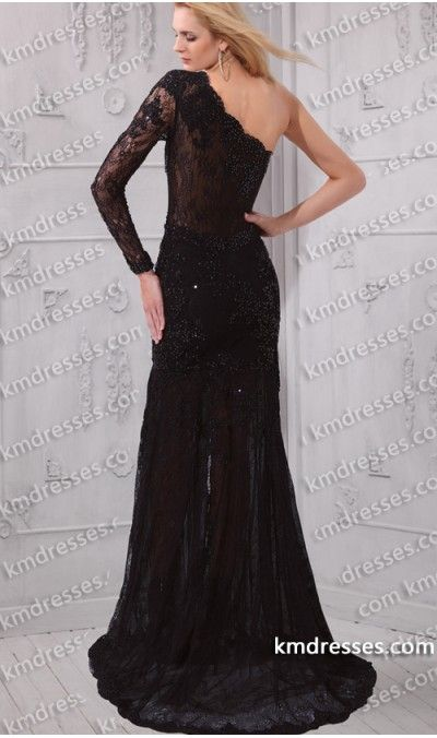 Lovely One Shoulder Long Sleeve Black Lace Above Knee Dress | Long ...