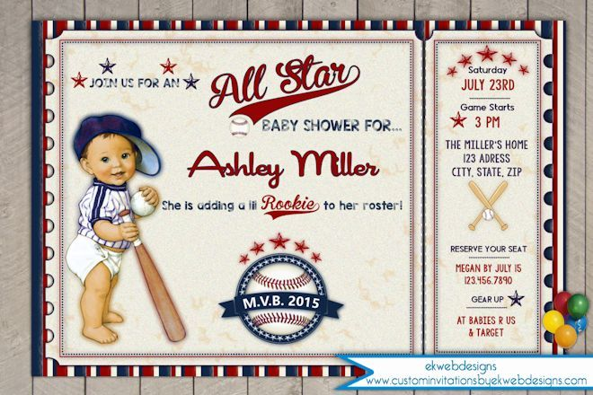 vintage all star - lil slugger baseball baby shower invitation, Baby shower invitations