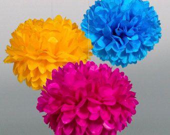 Tissue Paper Pom Poms Set of 3 by PomGarden on Etsy