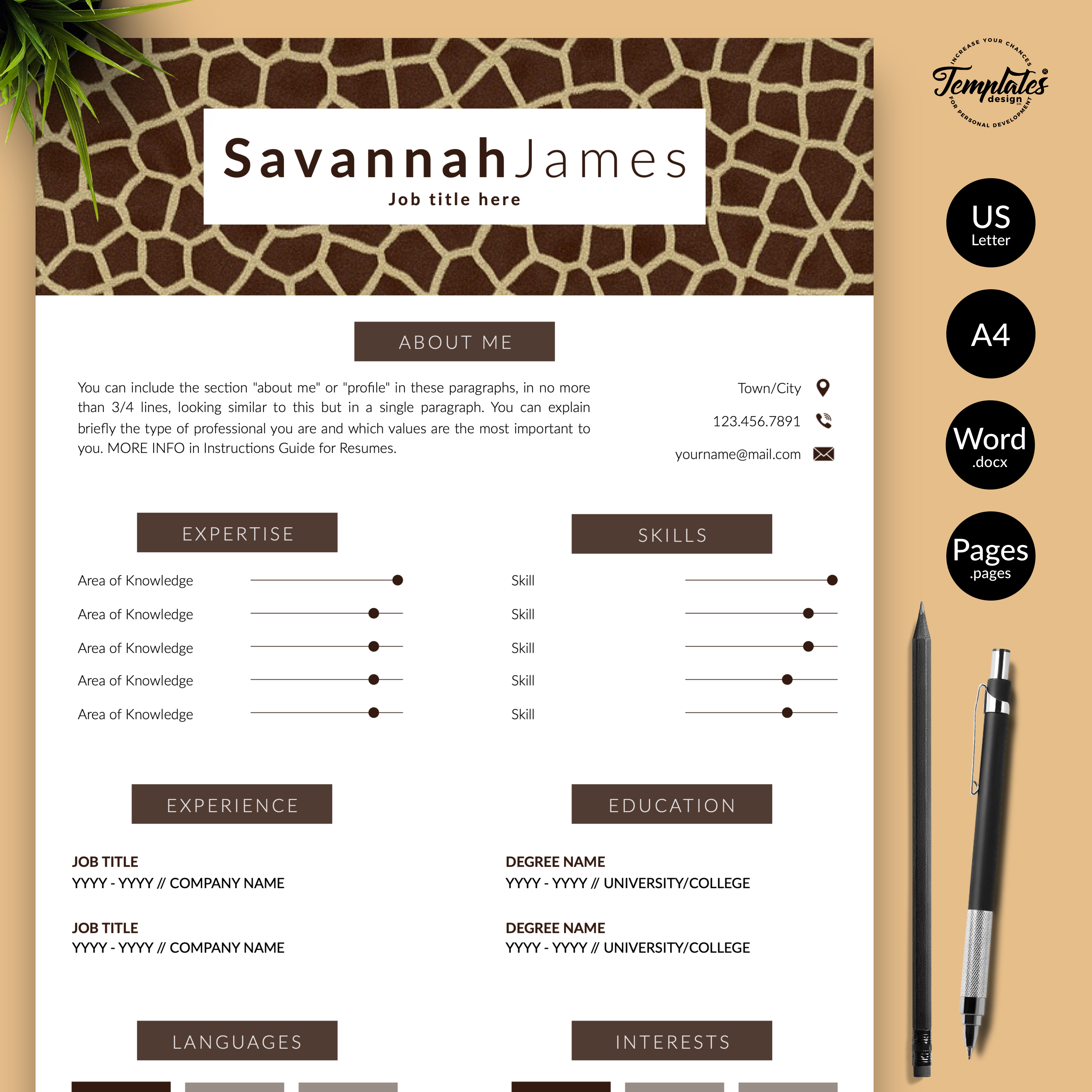 Resume Template for Microsoft Word (.docx) & Apple Pages