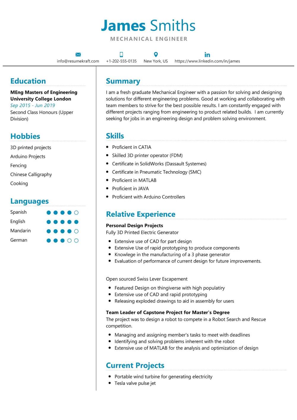100 Professional Resume Samples For 2020 Resumekraft Student Resume Engineering Student Engineering Resume