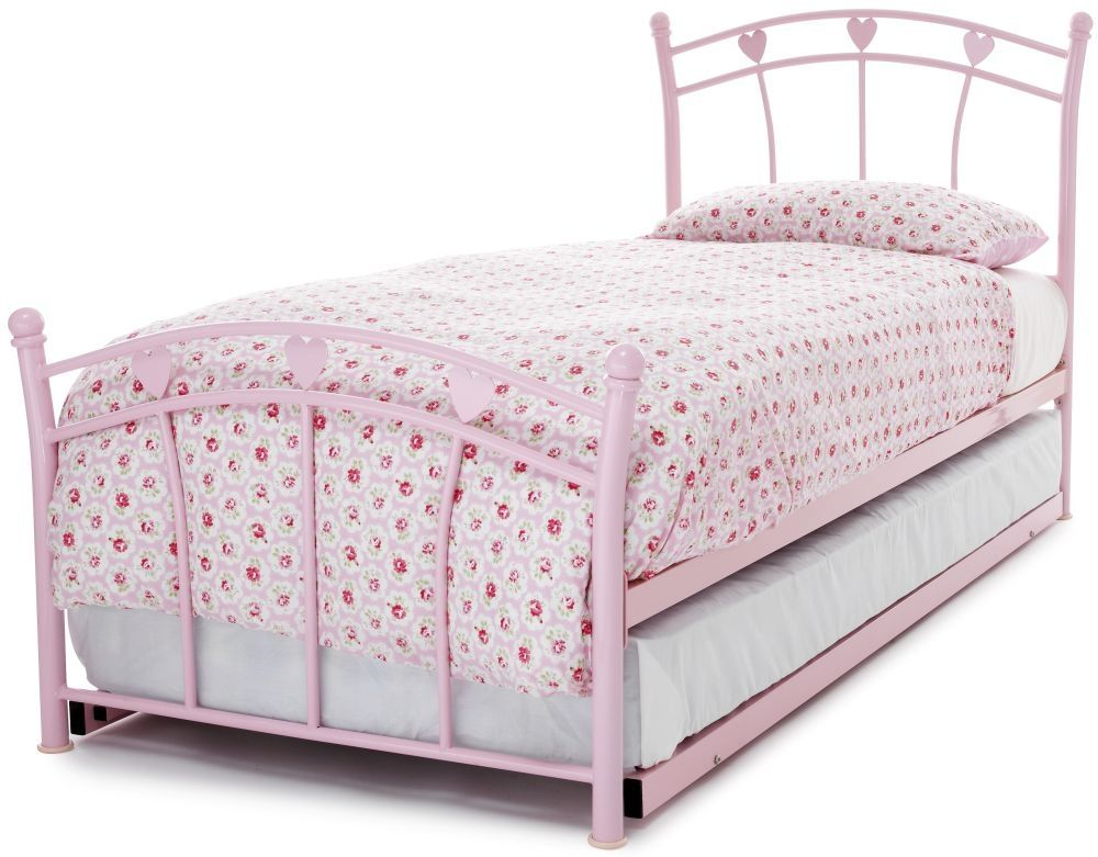 Jemima Pink Gloss Metal Guest Bed Serene Furnishings Guest Bed Bed Frame With Mattress Modern Bed Frame