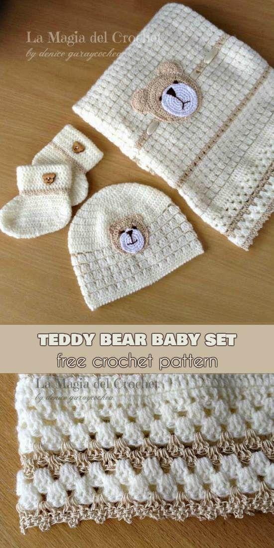 Teddy Bear Baby Set Blanket Hat Booties Free Crochet Pattern