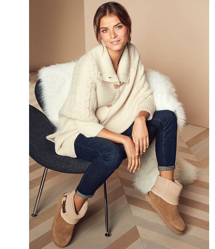 82741389aea Chestnut:UGG® Shaina Knit Top Leather Strap Boots | Best Foot ...