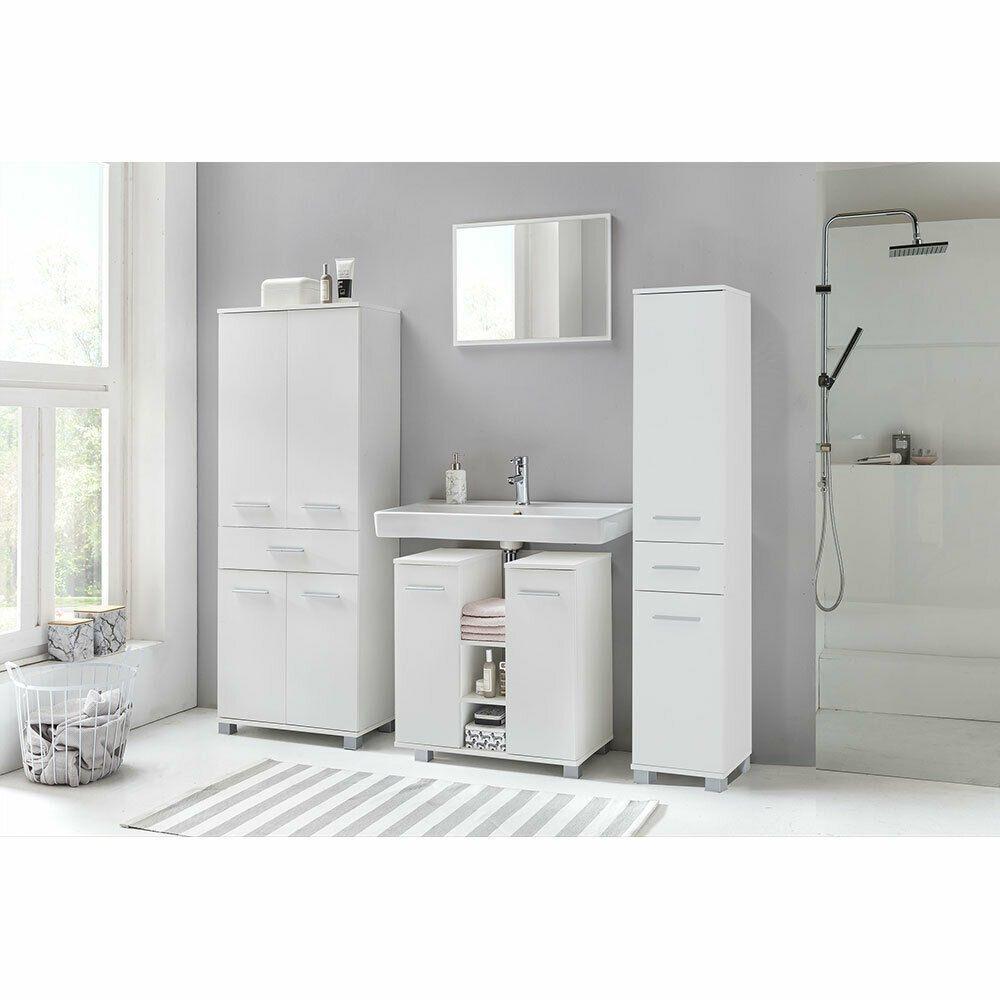 Bad Badezimmerset Spiegel Hochschrank Waschbeckenunterschrank Mobel Set Weiss Ebay In 2020 Waschbeckenunterschrank Hochschrank Badezimmer Accessoires