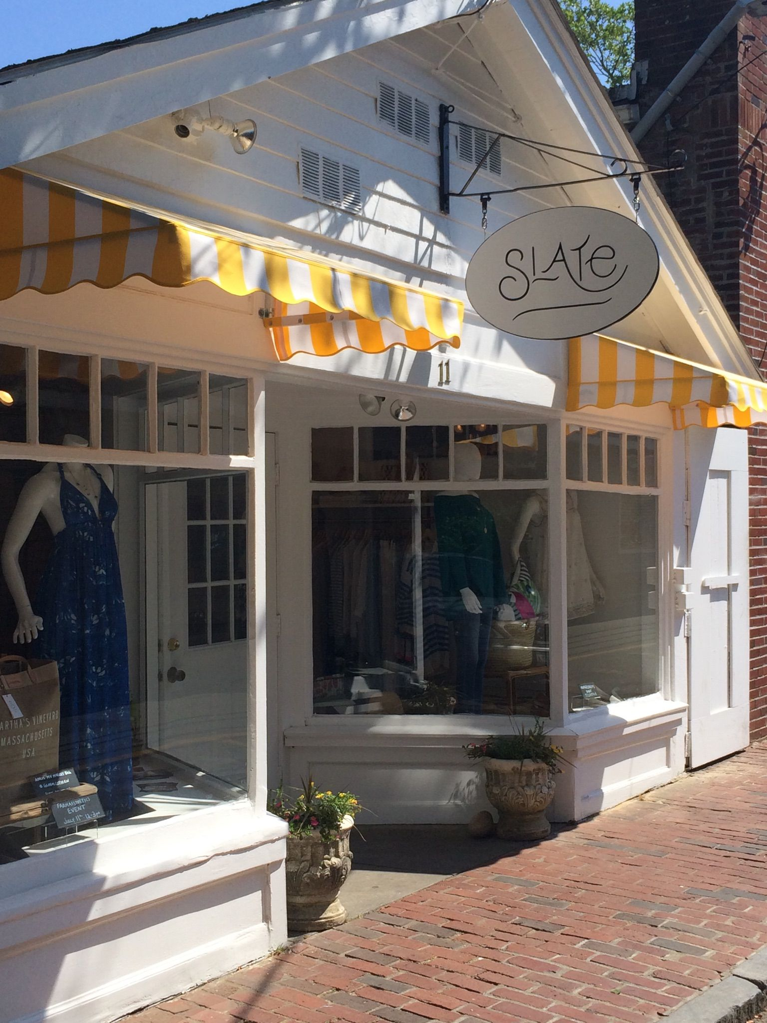 Slate S Store Front Hand Painted Sign Yellow And White Striped Awnings Awning Sunbrella Awning Fabric Awning