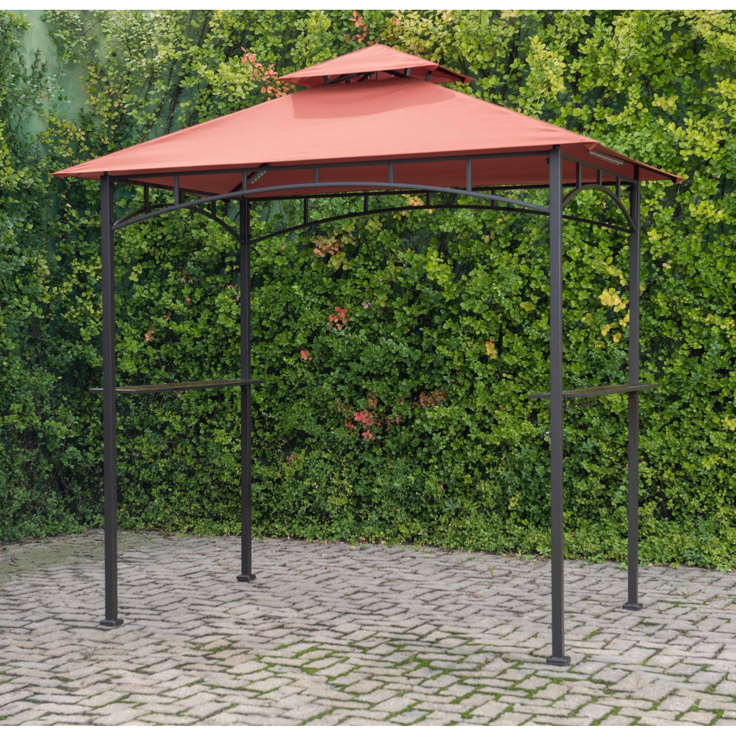 Sunjoy Soft Top Grill Gazebo With Terra Cotta Canopy And Led