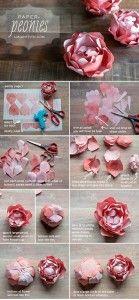Como hacer rosas de papel cartulina para decoracion (2)
