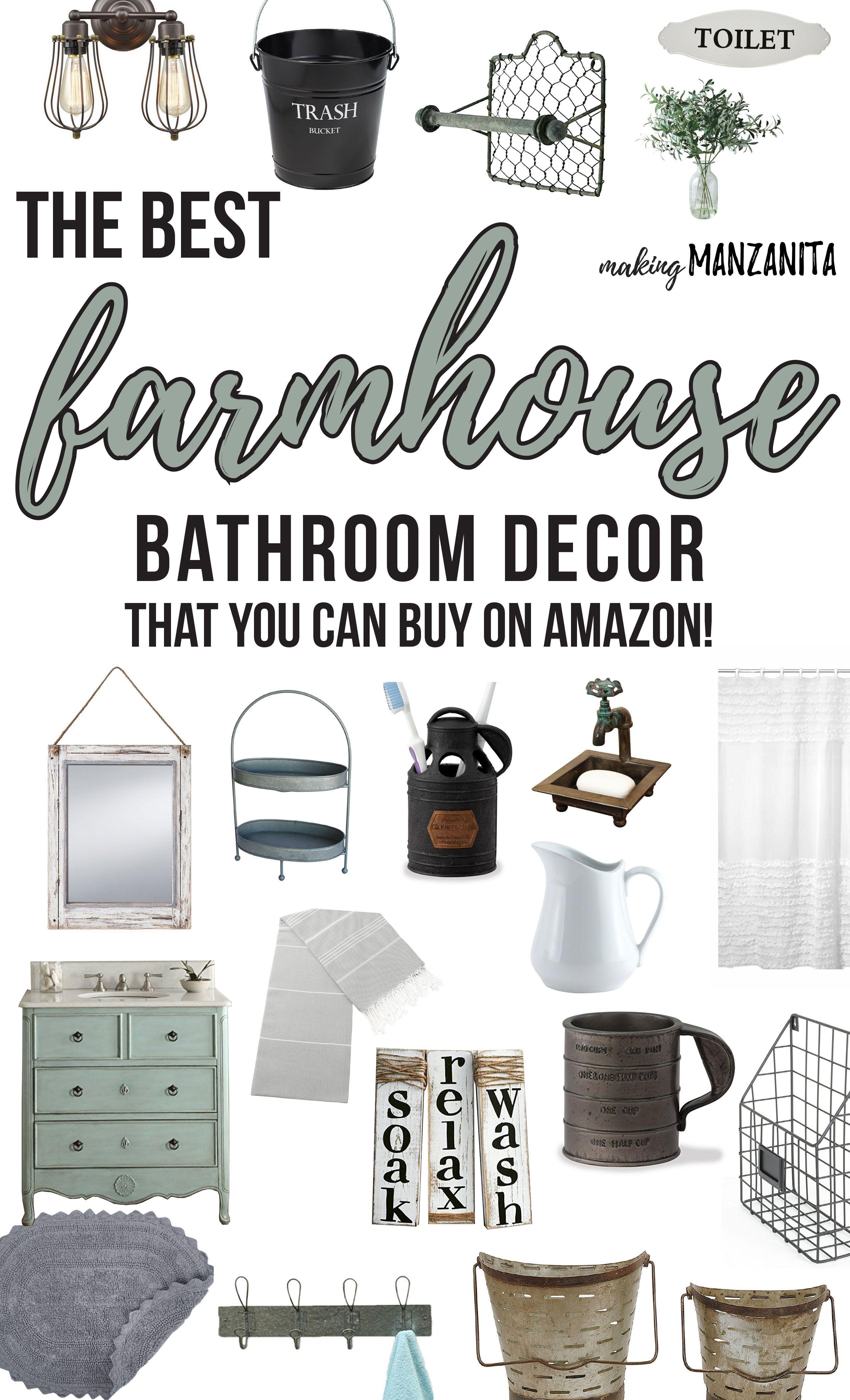 Best Farmhouse Bathroom Decor From Amazon Making Manzanita Farmhouse Bathroom Decor Bathroom Farmhouse Style Farmhouse Style Bathroom Decor