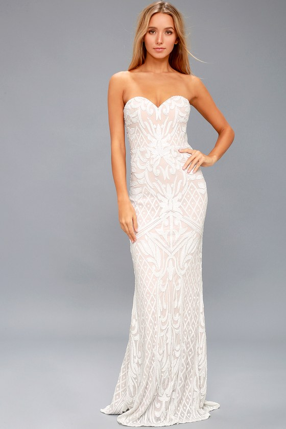29c26b994739 The allure of the Olivia White Sequin Strapless Maxi Dress is absolutely  irresistible! Sparkling white sequins create an Art-Deco-inspired design  atop this ...