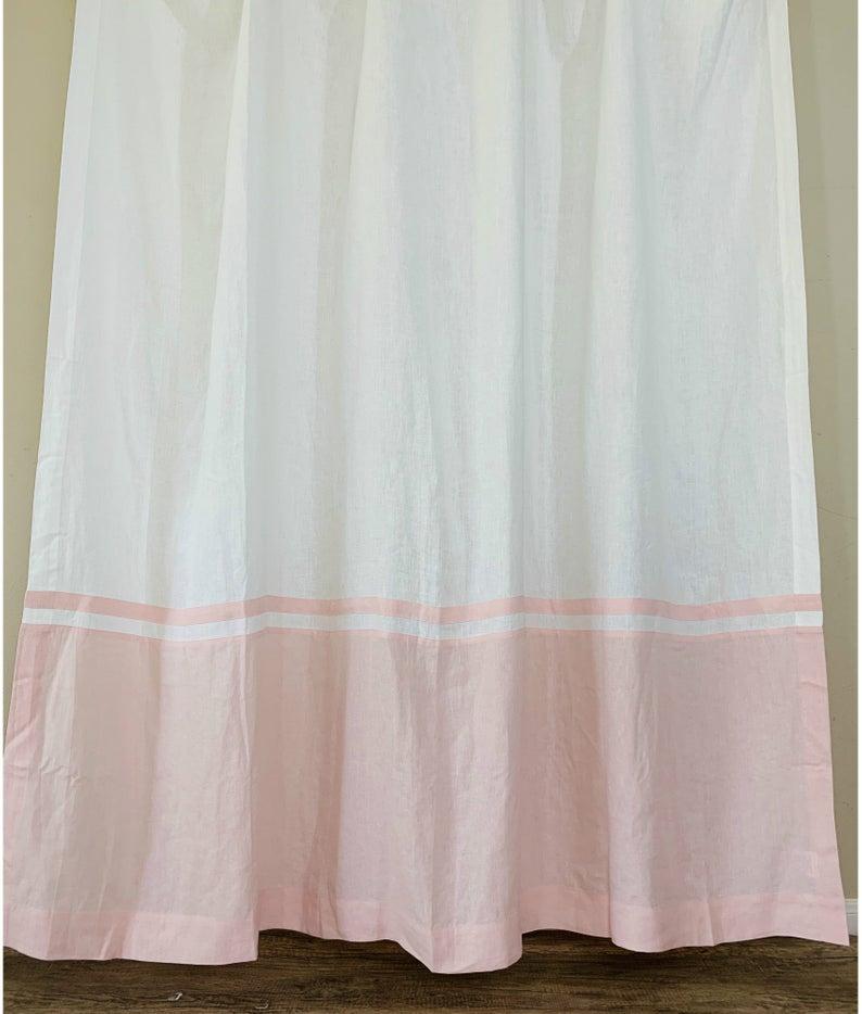 Natural Linen Color Block Shower Curtain With Stripe Mildew Free Custom Shower Curtain Extra Long Bathroom Decor