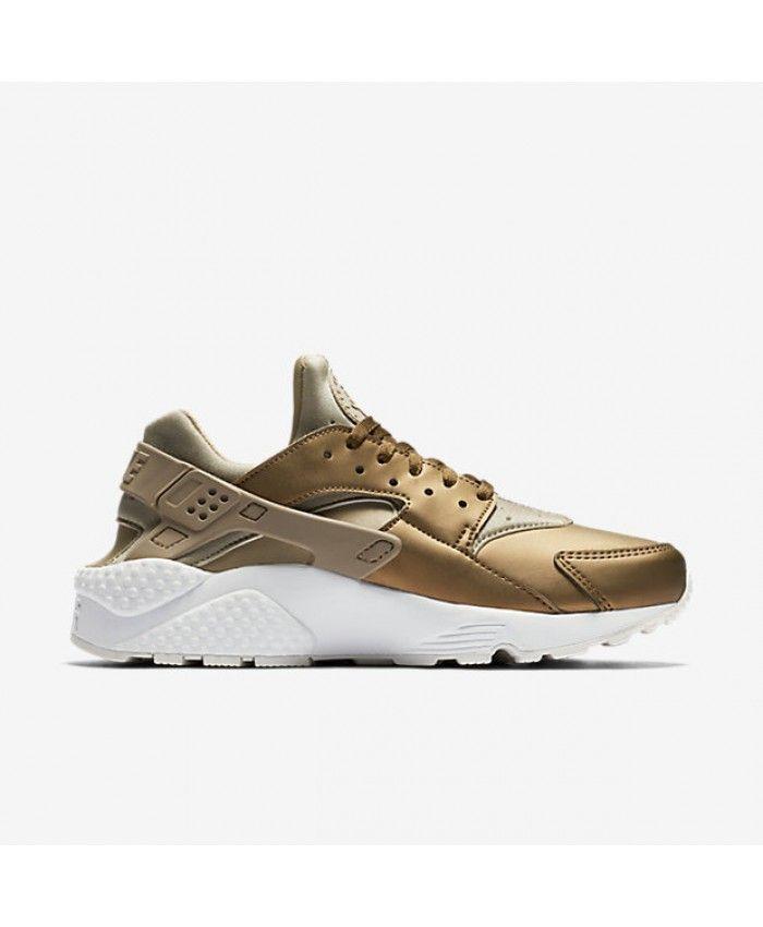 sports shoes 08cc6 542dc Chaussure Nike Huarache Premium Kaki Blanche Sommet Terrain Métallique