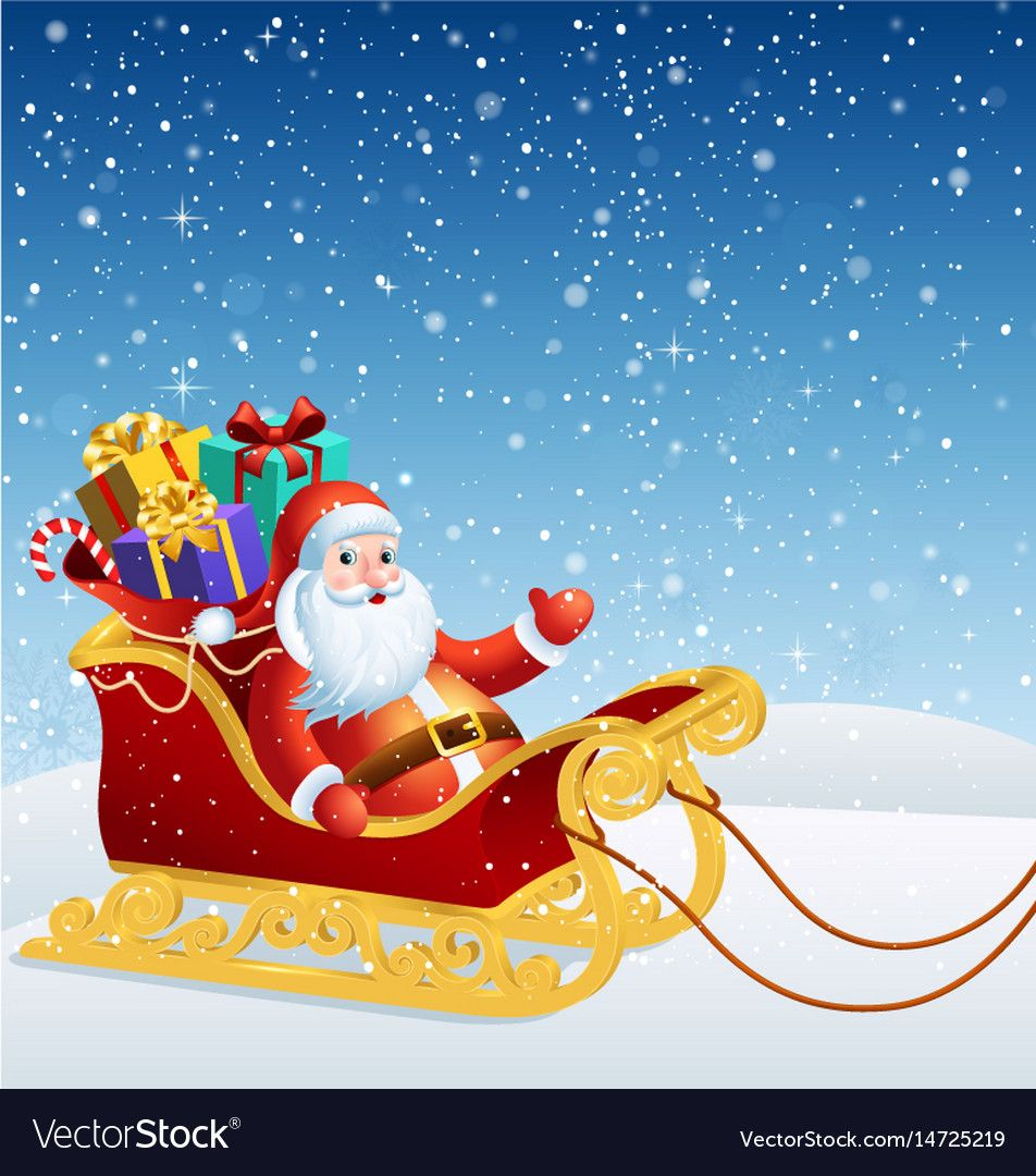 Santa claus in a sleigh vector image on (With images