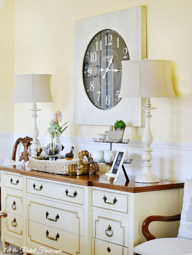 Oversized wall clock in the dining room diy home decor for Comedor industrial buffet