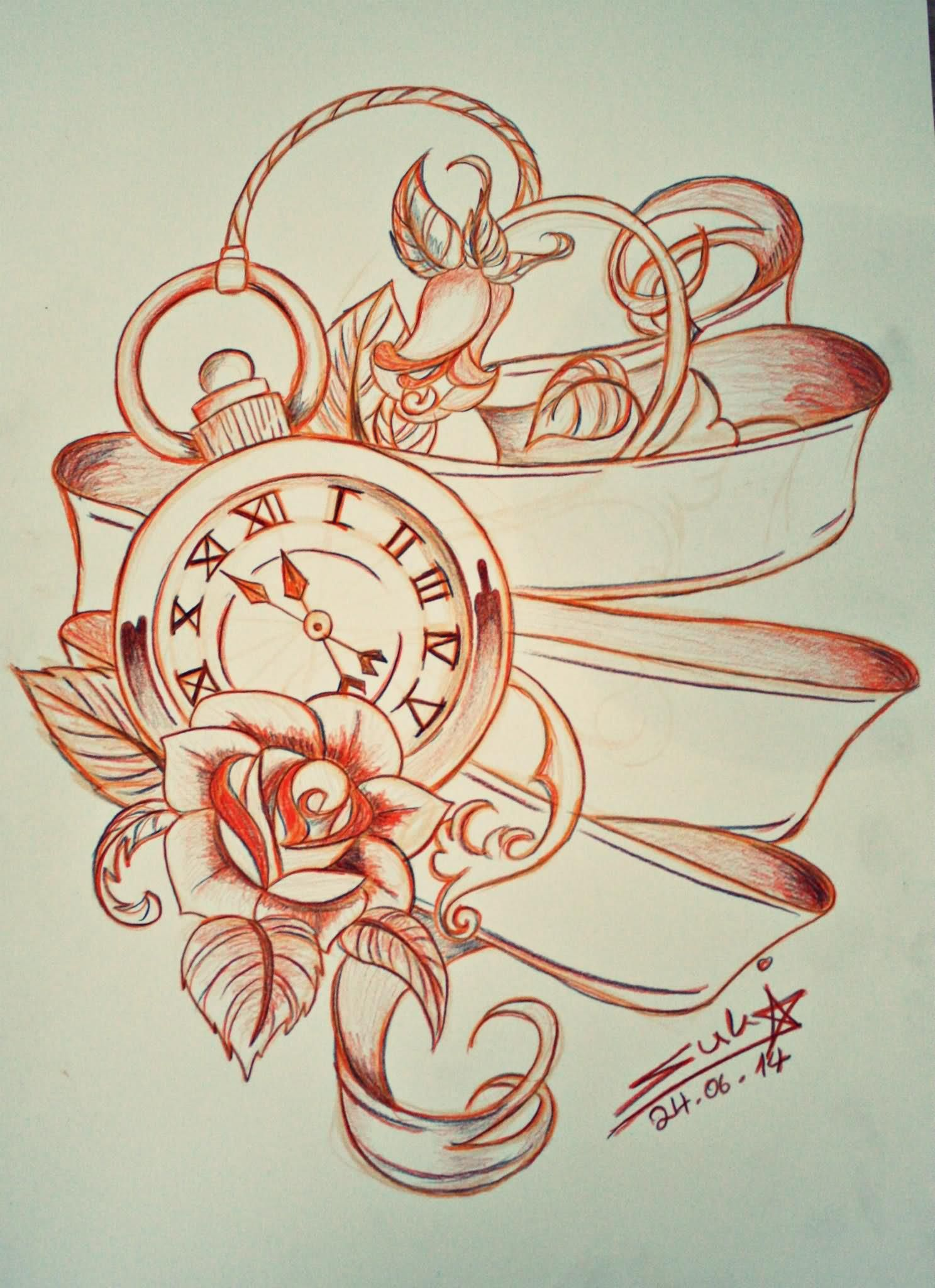 Rose Clock Tattoo Designs Drawing: Pocket Watch With Ribbon And Roses Tattoo Design
