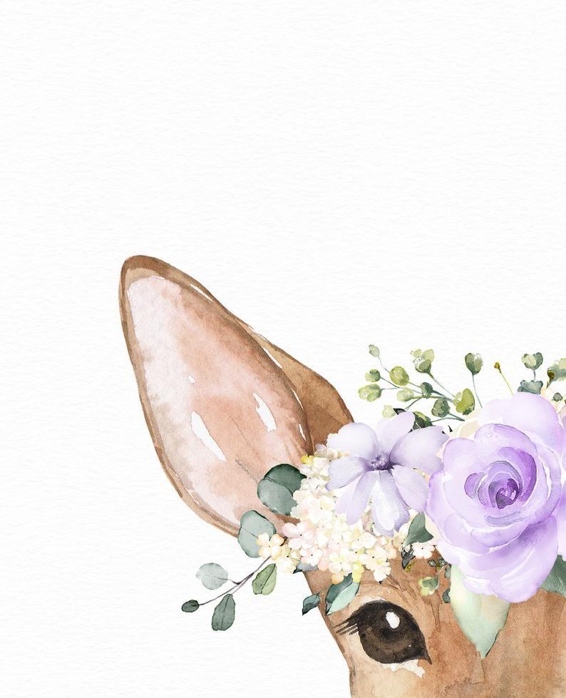Deer with flower crowns Girl's printable art Woodland