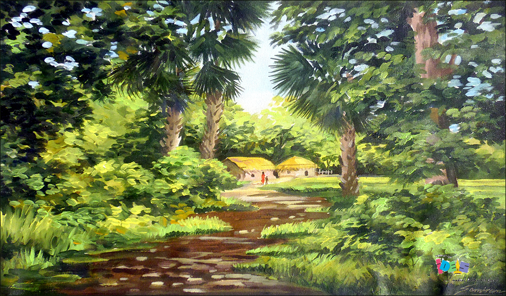 Beauty Of Bengal Village A Beautiful Painting Of Natural Beauty By Samiran Sarkar The Painting Presents Everythi Farm Paintings Painting Beautiful Paintings