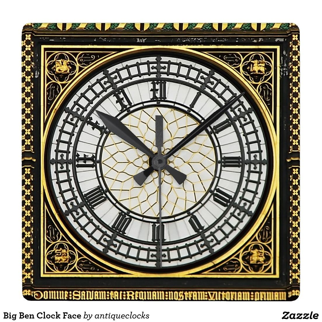 Coole Wanduhren Big Ben Clock Face Quadratische Wanduhr Zazzle De Uhren