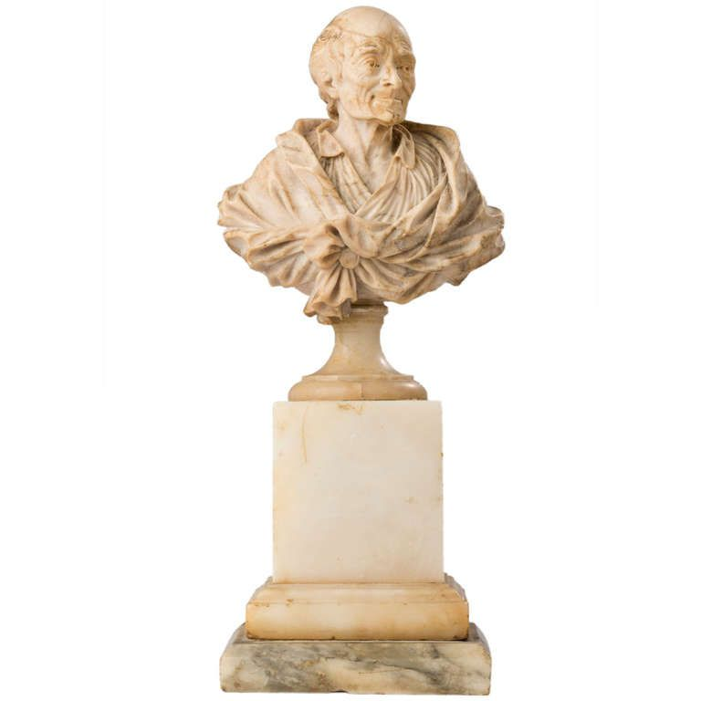 Alabaster Bust Of Voltaire By Antoine Rosset (french, 1749