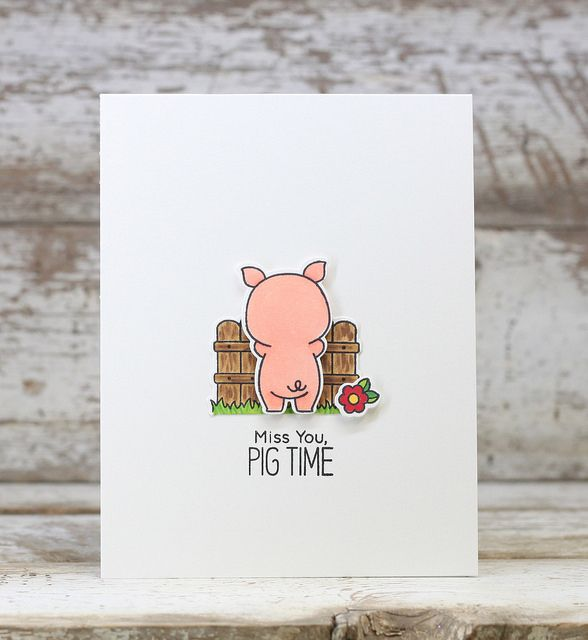 pig time  punny cards cards goodbye cards