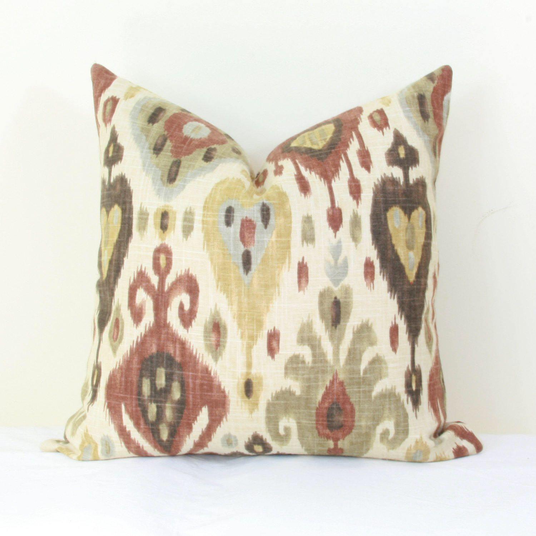 16X26 Pillow Insert Brown Tan Ikat Pillow Cover 18X18 20X20 22X22 24X24 26X26 Euro Sham
