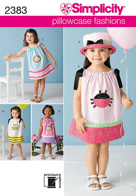 Pillowcase Dress Tutorial Size 3t: Pillowcase Dress Patterns Simplicity 2383 Size A 6 months 1 2T 3T    ,