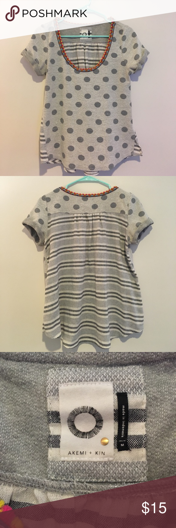 Polka Dot and Striped Akemi + Kin Top A mix of textures, colors, and patterns in this adorable Akemi + Kin top! Worn several times, a couple pulls on the front but an easy fix. Akemi + Kin Tops