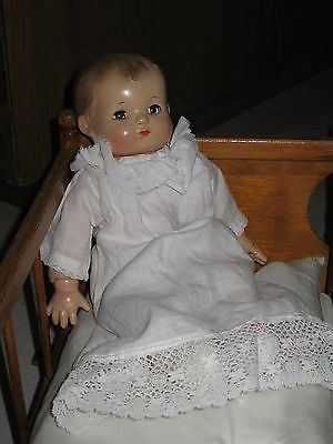 "Vintage Antique 1930's Effanbee Patsy Baby 12"" Composition Cloth Doll Blue Eyes"
