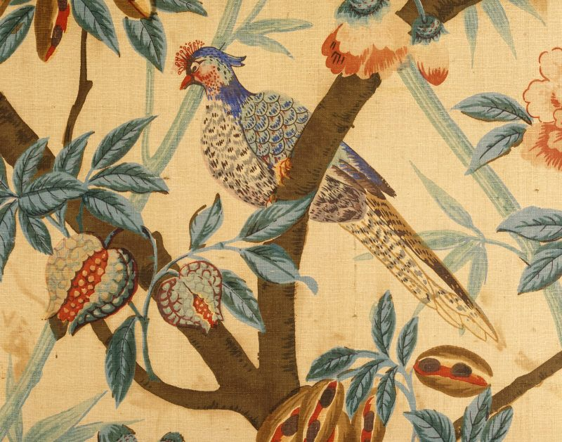 Printed textile wall hanging with bird among foliage and fruit, at ...