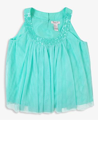 Sequined Tulle Blouse (Kids) | FOREVER21 girls - 2027704881