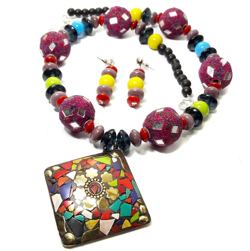 Mangoquest fashion jewellery beads necklace with ear ring
