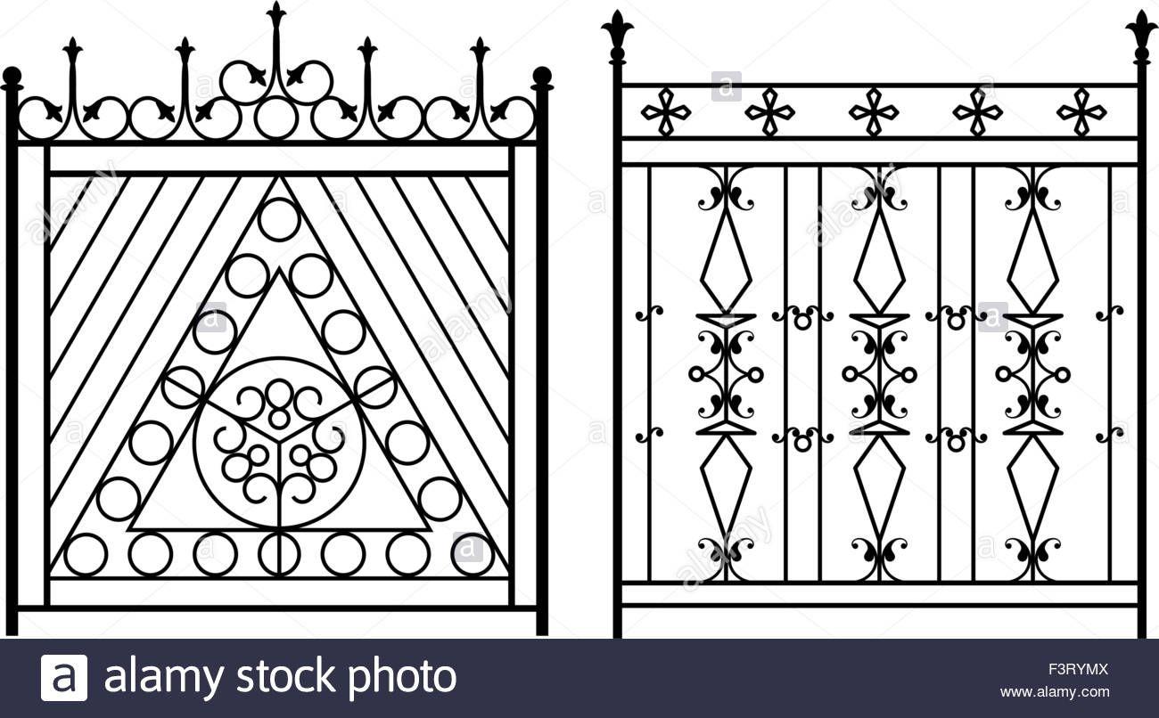 Wrought Iron Gate Door Fence Window Grill Railing Design Vector