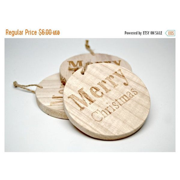 HOLIDAY SALE Wood Merry Christmas circles/Set of 3 Wood Christmas... ($3.67) ❤ liked on Polyvore featuring home, home decor and holiday decorations