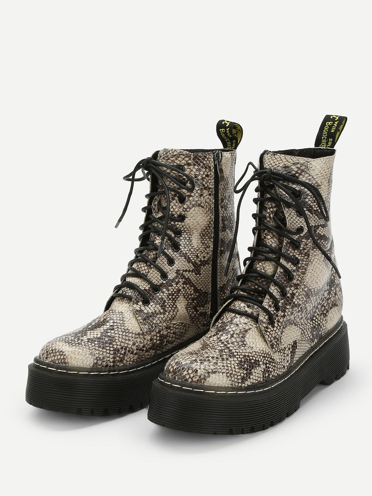 Snakeskin Pattern Lace-up BootsFor