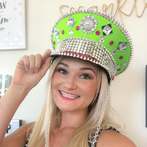 be580a722 Festival Hat | Military Festival Hat, Hot Pink and Lime Green Spiked ...