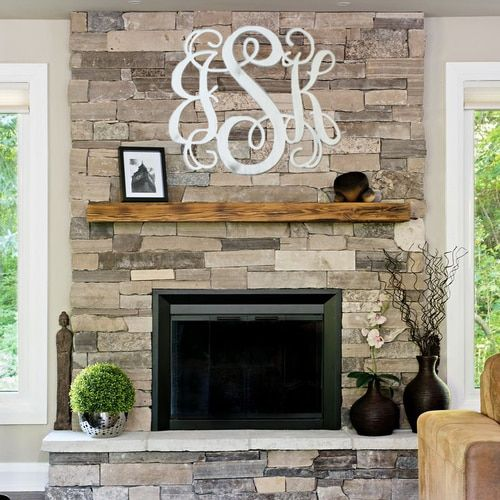 24'' Painted Wooden 3Letter Vine Personalized Custom Monogram is part of Elegant Living Room With Fireplace - Painted, Wooden Letter,  Unfinished Wooden 3Alphabet Letter Vine Personalized Custom Monogram Wall Decor Cutout