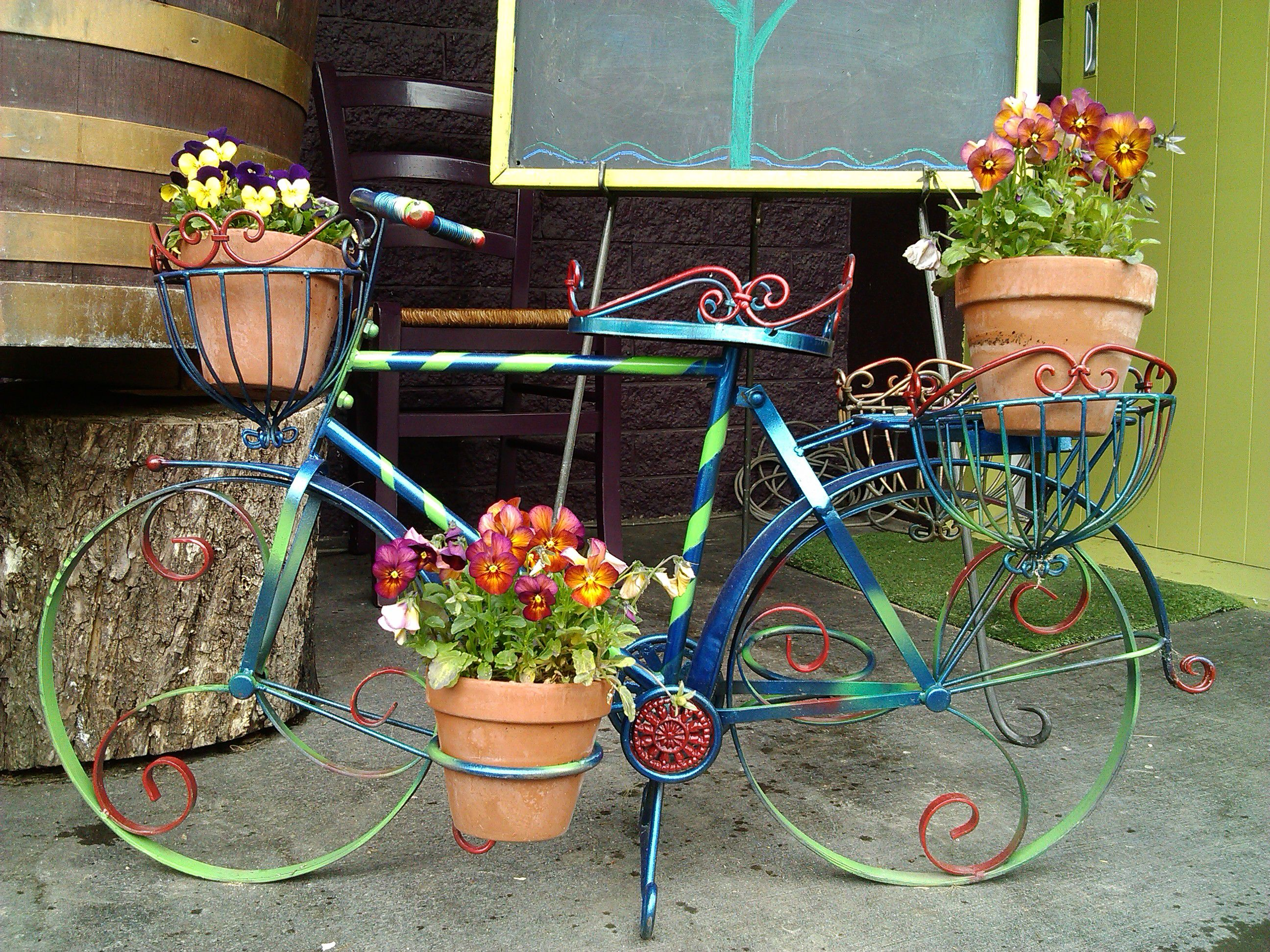 Garden decor bicycle  Ride with colors   Books Worth Reading  Pinterest  Gardens