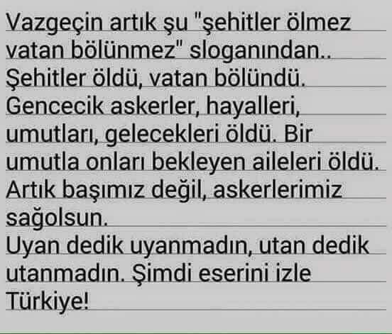 Uyanmadın Türkiye!  Utanmadın Türkiye!  Şimdi kan kokuyorsun...