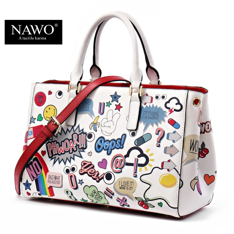 Nawo Leather Bags Women 2017 High Quality Luxury Handbags Bag Designer Cartoon Printing Character Shoulder Tote