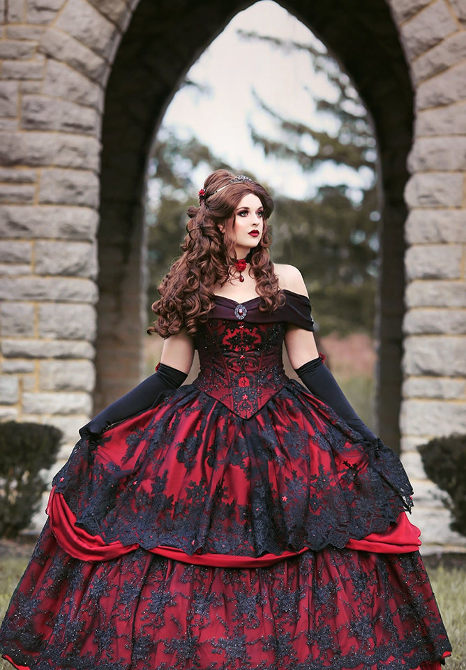 Gothic Wedding Belle Red Black Lace Fantasy Gown Wedding Halloween Upscale Costume Custom Size Fantasy Gowns Gothic Wedding Dress Fantasy Dress [ 2282 x 1588 Pixel ]