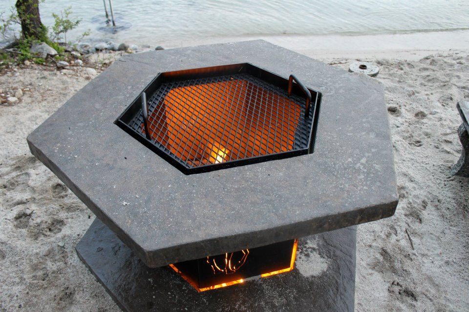 Moose fire pit all quot fired up quot at priest lake fabricated by river